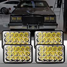Goplus 4X6 Inch LED Headlights, 4PCS 45W High Low Beam Sealed Rectangular Headlights Replacement H4651 H4652 H4656 H4666 H6545 W/LED Chips for Ford Probe Chevrolet Oldsmobile Cutlass DOT Approved