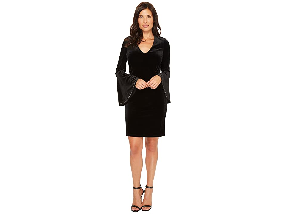 Karen Kane Embellished Bell Sleeve Dress (Black) Women