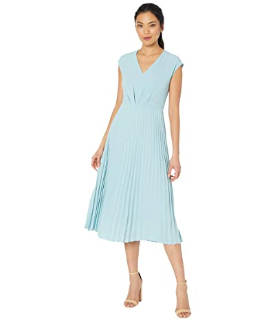 Maggy London Faux Wrap Pleated V-Neck Dress (Azurine) Women