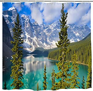 BROSHAN Mountain Scene Fabric Shower Curtain, Nature Mountain Lake Pine Trees Forest Landscape Art Print Polyester Blue Green Waterproof Bath Curtain with Hooks,72 x72 Inch,