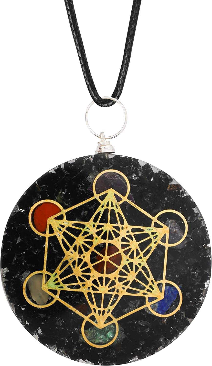 Art of Creation Black Tourmaline With SBB Tesla Coil Pendant For Women And Men | Orgone 7 chakra Adjustable pendant | Negative Energy Protection | Orgonite Balancing Chakra | Revitalization and Relaxation | Healing Crystal Stone