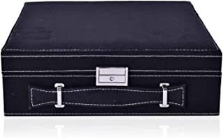 Black Faux Velvet Briefcase Style 2-Tier Jewelry Organizer Box Storage with Anti-Tarnish and Scratch Protection Interior Approx 60 Rings