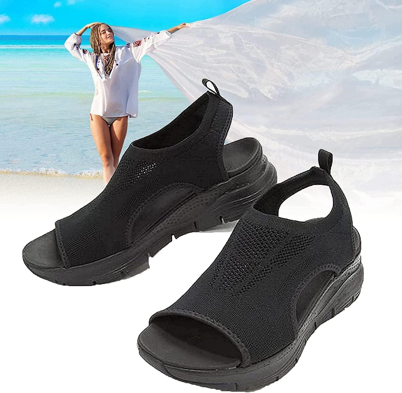 PNDGMCSY 2021 New Summer Washable Slingback Orthopedic Slide Sport Sandals - Gradation Thick Bottom Fish Mouth Beach Casual Sandals - mesh Orthopedic Walking Sandals (Black,9)