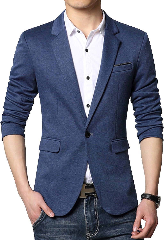 DAVID.ANN Men's Slim Fit Casual One Button Blazer Jacket