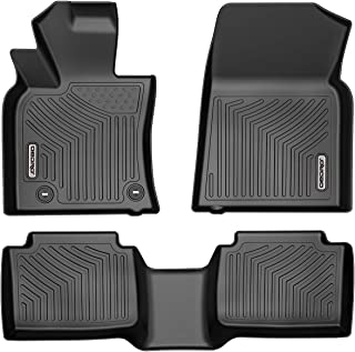 oEdRo Floor Mats Compatible for 2018-2019 Toyota Camry, Unique Black TPE All-Weather Guard Includes 1st and 2nd Row: Front, Rear, Full Set Liners