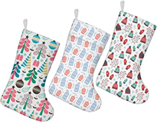 nsseoydkk Christmas Stockings Socks Christmas Tree Candy Cane White Kids Christmas Stockings 3 Pack