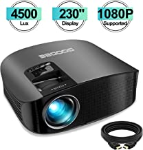 Projector, GooDee Upgrade HD Video Projector 4500L Outdoor Movie Projector, 230