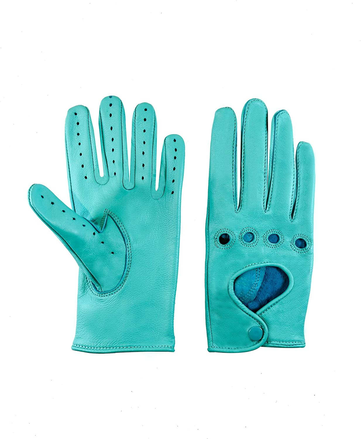 Sportsimpex Women Unlined Leather Driving Gloves (LARGE, TURQUOISE)