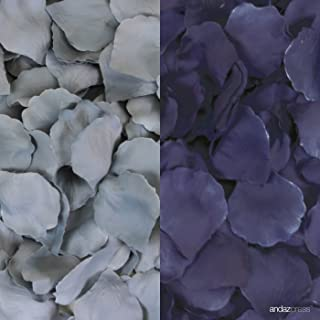 Andaz Press Silk Fabric Rose Petals Table Decorations, Gray, Navy Blue, 400-Pack, Colored Wedding Baby Bridal Shower Graduation Party Supplies
