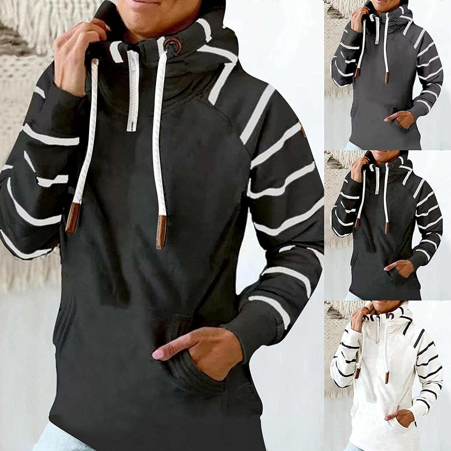 Gibobby Hooded Sweatshirts for Women Warm Winter Casual Long Sleeve Shirt Pocket Turtle Neck Hoodies Drawstring Pullover
