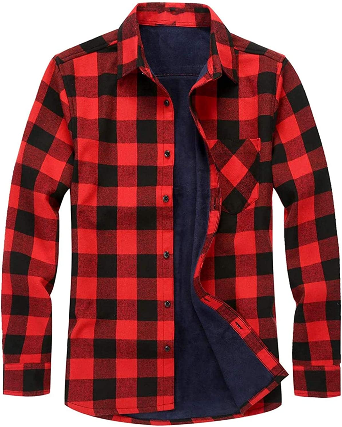 Men's Casual Long Sleeve Fleece Lined Plaid Flannel Buttoned Overshirts Jacket