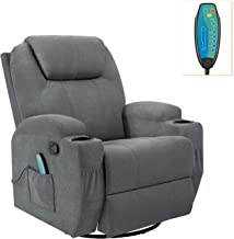 Flamaker Rocking Chair Recliner Chair with Massage and Heating 360 Degree Swivel Ergonomic Lounge Chair Classic Single Sof...