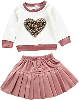 Toddler Baby Girls Leopard Heart Print Sweatshirt Tops Velvet Pleated Skirt Dress Fall Winter Outfits Clothes Set