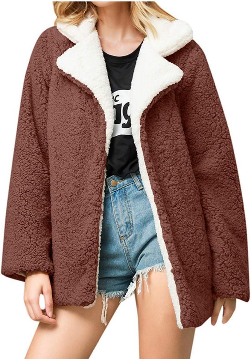 RJJBYY Herbst Winter Jacke Frauenmantel Weiche Kunstpelz Mantel Frau Lose Freizeitjacke Frau Reißverschluss Outwear Brown