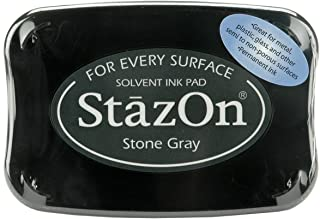 Tsukineko Full-Size StazOn Multi-Surface Inkpad, Stone Gray (SZ000032)