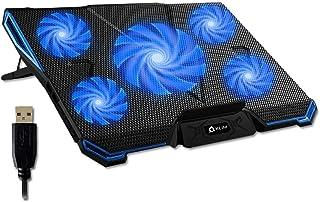 KLIM Cyclone - Refroidisseur Ordinateur Portable - Le Plus Puissant - Refroidissement Ultra Rapide - 5 Ventilateurs Silenc...