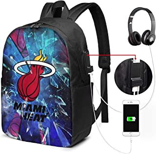 Miami Basketball Heat USB Backpack 17-Inch Laptop Backpack Firm Bottom Men's and Women's Outdoor College School Backpacks