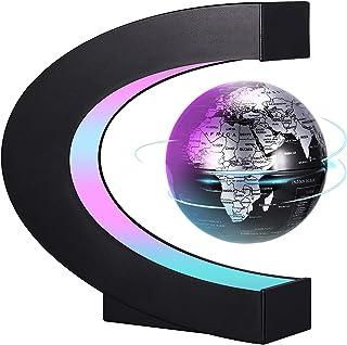 PZJFH Magnetische Schwebender Globus,Beleuchtet 3.5 Zoll C-förmiger Weltkarten Globus mit LED-Farblichtern für die Schreib...