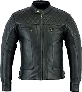 Bikers Gear Australia New Style Baron Diamond Premium Quality Soft Leather Motorcycle Jacket Black