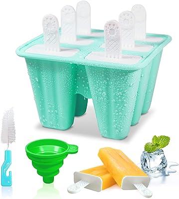 Moldes de silicona para helados y helados, con palitos y protectores de goteo, reutilizables, en 6 celdas, para regalo para niños, color verde