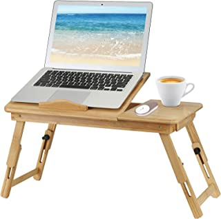 100% Natural Bamboo Foldable Laptop Desk, Portable Bed Table with USB Cooling Fan and Storage Drawer, for Bed and Sofa, Wo...