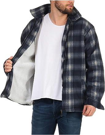 ZARMEXX Camisa térmica para hombre a cuadros, chaqueta de trabajo con forro polar de felpa, forro polar