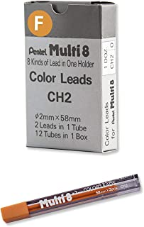 2mm Pentel Multi 8 Color Pencil Lead Set 12 Tubes Refill , CH2 Black Peach Violet Green Yellow Red Pink SkyBlue LightGreen Orange Blue Brown