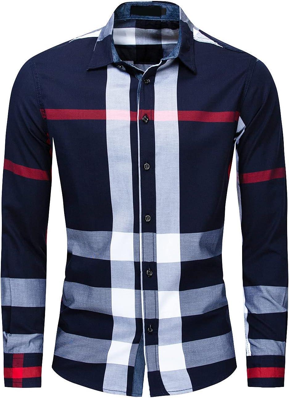 Men's Regular Fit Collared Plaid Shirts Cotton Long Sleeve Button Down Dress Shirt Casual Slim Business Plaids Shirt (Blue,XX-Large)