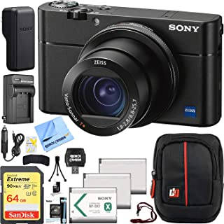 Sony Cyber-Shot RX100 VA DSC-RX100M5A 20.2 MP 4K Compact Digital Camera with F1.8 - F2.8 Zeiss 24-70mm Lens with Triple Battery Deco Gear Field Bag Case Memory Card Travel Bundle