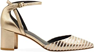 WHAT FOR Women's ALLSWF043 Gold Leather Heels
