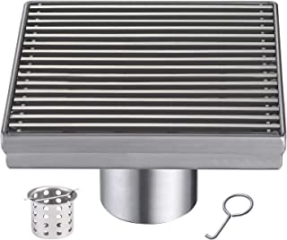 HomGif 5 Inch Square Shower Floor Drain for Bathroom Kitchen SUS 304 Stainless Steel Brushed Finish with Removable Hair Strainer