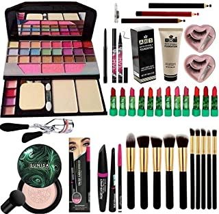 BTN Bridal Makeup Kit with TYA 6155 and Sunisa Foundation with 10 multi size/colour makeup brush & 12 pcs multicolour lipi...