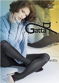 Gatta Loretta 108-50den - blickdicht gemusterte schwarze Strumpfhose mit trendigem Karo Rauten Design