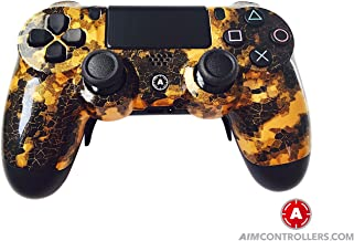PS4 Slim DualShock Custom Playstation 4 Wireless Controller - Custom AimController DigiCamo Gold with 4 Paddles. Upper Left Square, Lower Left X, Upper Right Triangle, Lower Right O