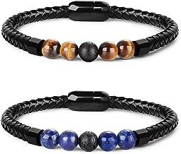 LOLIAS 7 Chakra Lava Stone Bracelet Healing Braided Leather Bracelets for Men Women Tiger Eye Bead Magnetic Clasp