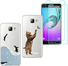 2 X Samsung Galaxy C9 Pro Case with 2 Pack Glass Screen Protector Phone Case for Men Women Girls Clear Soft TPU with Protective Bumper Cover Case for Samsung Galaxy C9 Pro