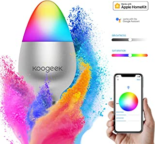 Smart Light Bulb, Koogeek Color Changing Dimmable Wi-Fi LED Light Bulbs Compatible with Alexa Apple HomeKit and Google Assistant Voice Control 16 Million Colors E26 8W(RGB Light Bulb)