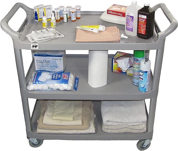 Crayata Hospital Comfort Cart 3 Shelf Hospitality Medical And Service Utility Cart Large Gray