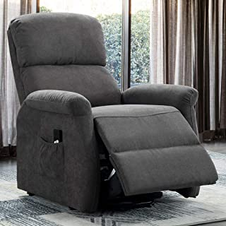 Bonzy Home Power Lift Recliner Chair for Elderly - Simple Electric Lift Chairs Recliner Reclining Chair for Living Room Sofa Chair (High Glass Grey) - Thicker Padded Back and Seat Upholstery