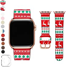 POWER PRIMACY Bands Compatible with Apple Watch Band 38mm 40mm 42mm 44mm, Top Grain Leather Smart Watch Strap Compatible for Men Women iWatch Series 5 4 3 2 1(Christmas Tree/Rosegold,42mm/44mm)