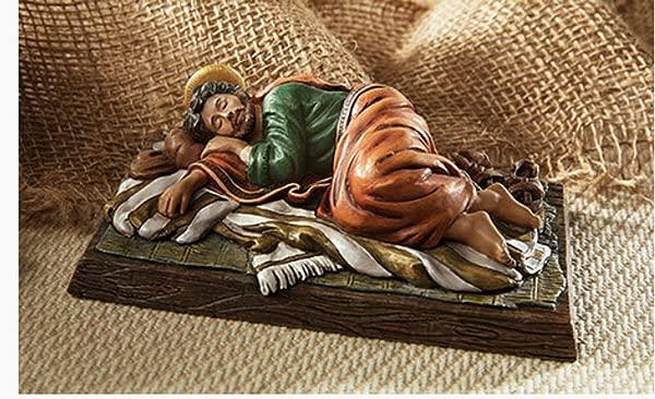 Beautiful Sleeping Saint Joseph Figure Carefully Highly Detailed Hand Painted Gift Boxed