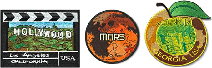 Spartan and The Green Egg Explorer Embroidered Patch, 3 Pack (3 Pack, Georgia, Hollywood, Mars)