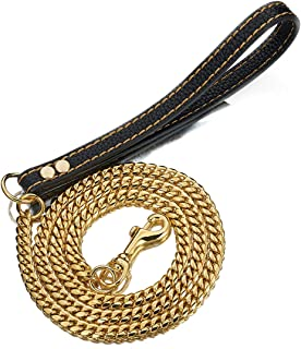 Aiyidi Pet Dog Strong Leash Long 2FT 3FT 4FT 18K Gold Metal 12mm Curb Cuban Chain Dog Leashes with Comfortable Genuine Leather Handle