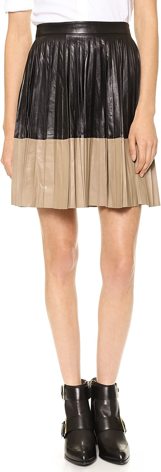 Robert Rodriguez Women's Pleated Color-Block Leather Flared Skirt