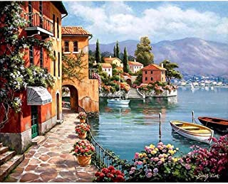 Oil Paint By Number On Canvas Picture For Wall Paintings By Number Seaside City Color For Drawing Living Room Decoration 4...