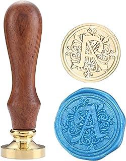 Mogokoyo Vintage Retro Alphabet Initial Wax Sealing Stamp, Wooden Handle Brass Seal Stamp (Letter A)