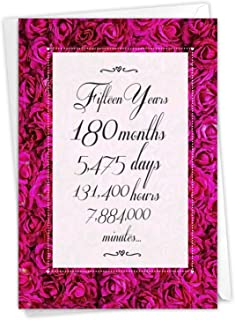 NobleWorks, 15 Year Time Count - Milestone Anniversary Greeting Card with Envelope - C9436MAG