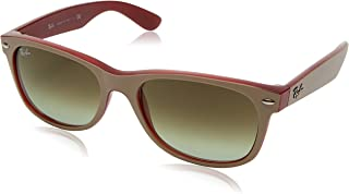 RAY-BAN RB2132 New Wayfarer Sunglasses, Matte Beige On Red/Green Gradient Brown, 55 mm