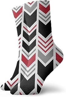 シェブロン黒と赤のファッショナブルなカラフルなファンキー柄の綿のドレスソックス11.8インチ