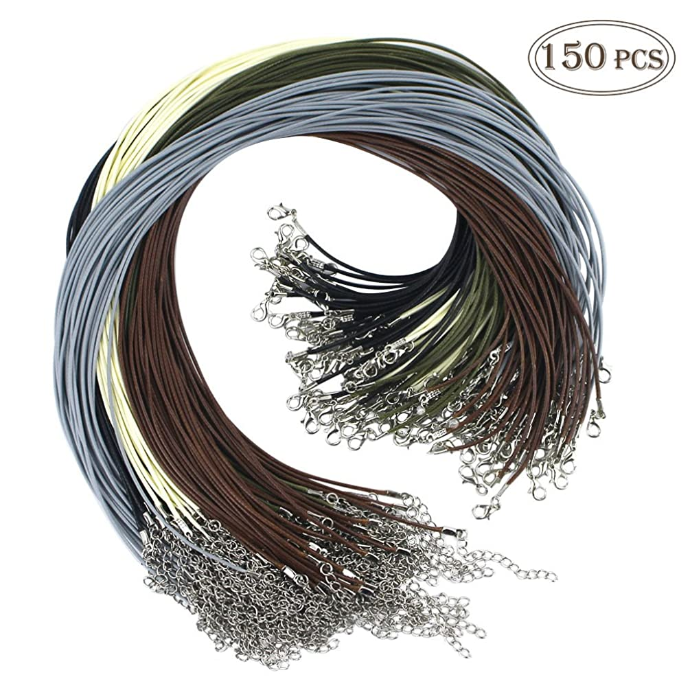 Outuxed 150 Pcs Bulk Necklace Cord, Multicolor 1.5mm Waxed Cotton Necklace Chain with Lobster Claw Clasp for Pendants Bracelet Necklace and Jewelry Making(5 Colors)